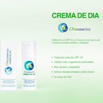 Crema de día para pieles sensibles y atópicas. SPF 50, eficacia hidratante, reparadora, antiedad yun toque de color. Indicada para aplicar durante tratamiento oncológico. Cosmética oncológica.